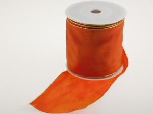 Uniband Goldkante Orange mit Draht 100mm