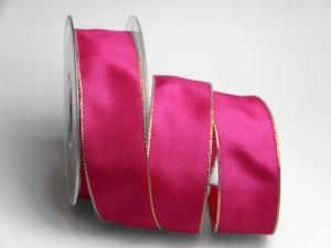 Uniband Goldkante Taipeh Pink mit Draht 40mm