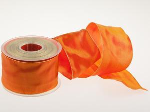 Uniband Goldkante Orange mit Draht 70mm