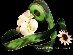 Uniband Goldkante Taipeh Grün mit Draht 40mm