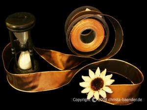 Uniband Goldkante Taipeh Dunkelbraun mit Draht 40mm