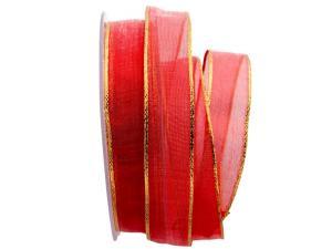 Organzaband rot mit Goldkante 25mm mit Draht