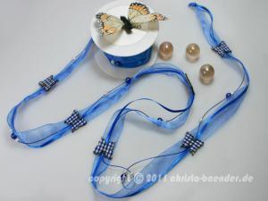 Blumengirlande Country Butterfly Blau ohne Draht ca. 20mm