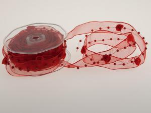 Organzaband Rose Rot mit Draht 25mm