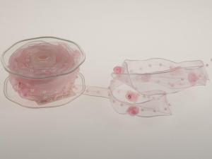 Organzaband Rose Rosa mit Draht 25mm