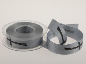 Trauerband Kreuz, Ripsband 25 mm ohne Draht