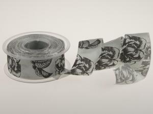Trauerband Rose, grau 40 mm mit Draht