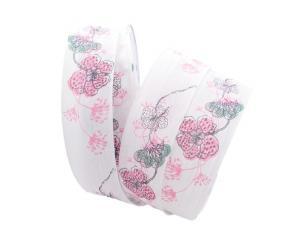 Blumenband Mainau rosa 40mm mit Draht