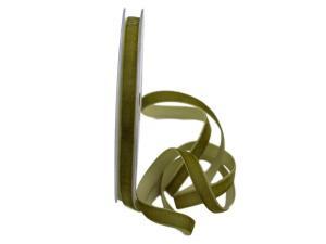 Samtbändchen 9mm olivegrün ohne Draht