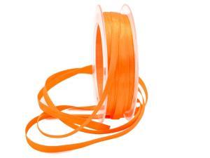 Satinbändchen orange hell 6mm ohne Draht