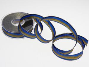 Weihnachtsband Blockstreifen Blau mit Draht 25mm