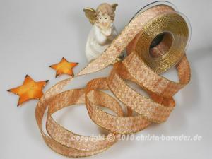 Weihnachtsband Hahnentritt Lachs mit Draht 25mm