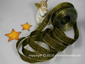 Weihnachtsband Hahnentritt Olivegrün mit Draht 25mm