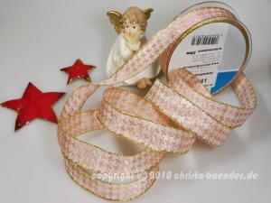 Weihnachtsband Hahnentritt Hellrosa mit Draht 25mm