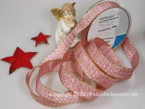 Weihnachtsband Hahnentritt Altrosa mit Draht 25mm