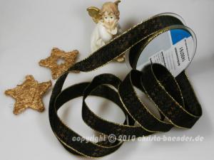 Weihnachtsband Hahnentritt Braun Gold mit Draht 25mm