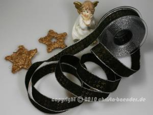 Weihnachtsband Hahnentritt Braun Silber mit Draht 25
