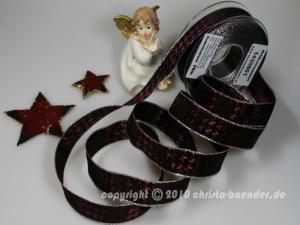 Weihnachtsband Hahnentritt Brombeer Silber mit Draht 25mm