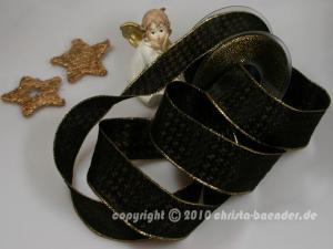Weihnachtsband Hahnentritt Braun Gold mit Draht 40mm