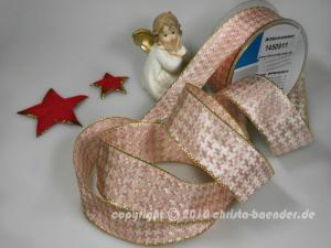 Weihnachtsband Hahnentritt Hellrosa mit Draht 40mm