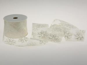 Motivband Springflowers weiß 60mm ohne Draht