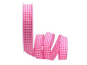 Karoband Landhauskaro pink 15mm ohne Draht