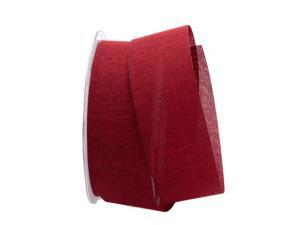 Uniband Leinenoptik rot dunkel 40mm ohne Draht - im Bänder Großhandel günstig kaufen!