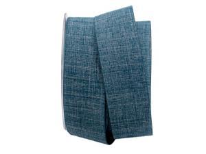 Uniband Leinenoptik blau / jeans 40mm ohne Draht - im Bänder Großhandel günstig kaufen!