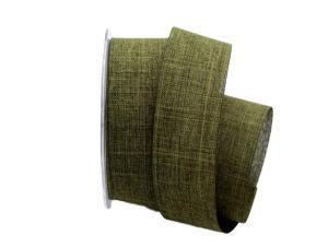 Uniband Leinenoptik grün / olive 40mm ohne Draht
