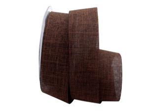 Uniband Leinenoptik braun 40mm ohne Draht - im Bänder Großhandel günstig kaufen!