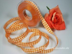Karoband Landhauskaro Orange mit Draht 15mm