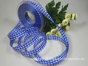 Karoband Landhauskaro Blau mit Draht 15mm