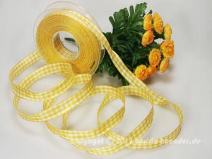 Karoband Landhauskaro Gelb mit Draht 15mm