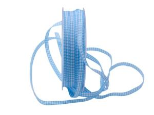 Karoband Landhauskarobändchen hellblau ohne Draht 6mm