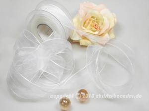 Organzaband Ziehband Weiß ohne Draht 40mm