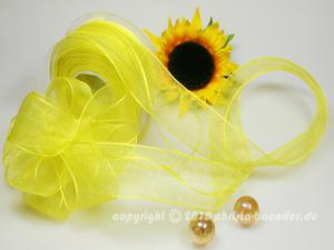 Organzaband Ziehband Gelb ohne Draht 40mm