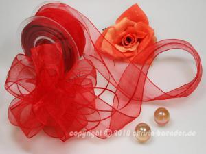 Organzaband Ziehband Rot ohne Draht 40mm