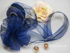 Organzaband Ziehband Blau ohne Draht 40mm