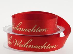 Weihnachtsband Frohe Weihnachten Rot 25 mm ohne Draht