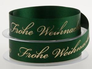 Weihnachtsband Frohe Weihnachten Grün 25 mm ohne Draht