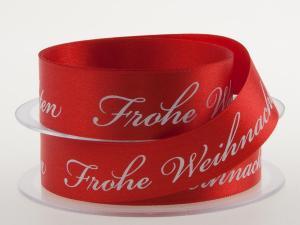 Weihnachtsband Frohe Weihnachten Rot 25 mm ohne Draht - im Bänder Großhandel günstig kaufen!