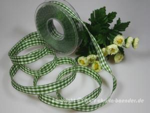 Karoband Landhauskaro Grün mit Draht 15mm