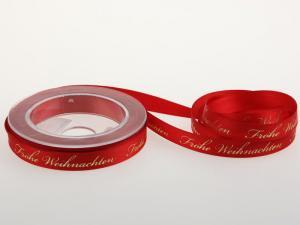 Weihnachtsband Frohe Weihnachten Rot 15 mm ohne Draht - im Bänder Großhandel günstig kaufen!