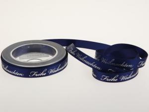 Weihnachtsband Frohe Weihnachten Blau 15 mm ohne Draht - im Bänder Großhandel günstig kaufen!