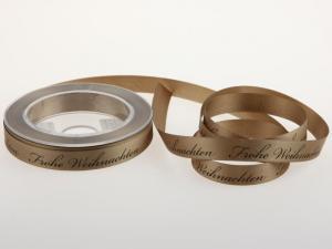 Weihnachtsband Frohe Weihnachten Toffee 15 mm ohne Draht - Geschenkband günstig online kaufen!