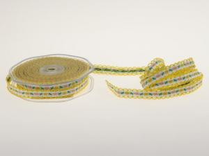Blumenband Folklore Gelb ohne Draht 13 mm