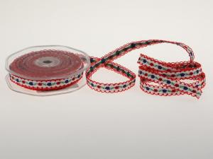 Blumenband Folklore Rot ohne Draht 13 mm