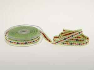 Blumenband Folklore Grün ohne Draht 13 mm