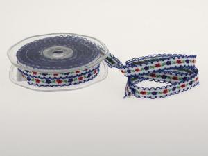 Blumenband Folklore Blau ohne Draht 13 mm