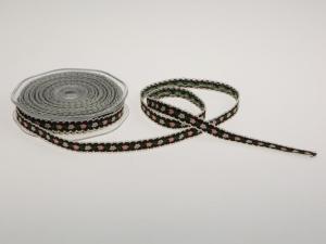 Blumenband Folklore Braun ohne Draht 13 mm